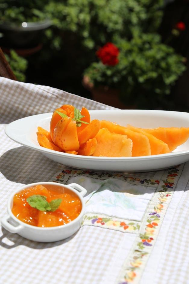 Marmellata di melone ed albicocche alla menta